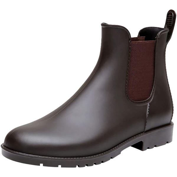 MERPHINE レインブーツレインシューズレディースメンズ雨靴園芸ショートブーツ防水シンプルサイドゴアローヒールかわいい