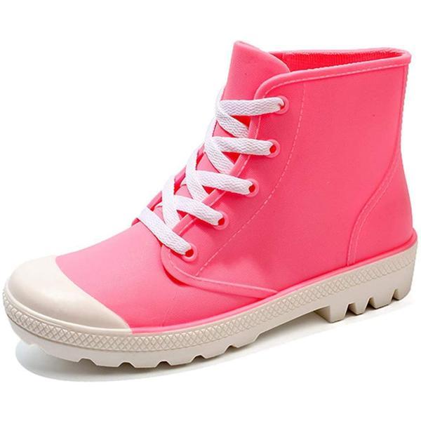 Starella レインシューズレディースゴム長靴防水滑り止レースアップレインスニーカー通学通勤通販雪用靴ピンクEU36=