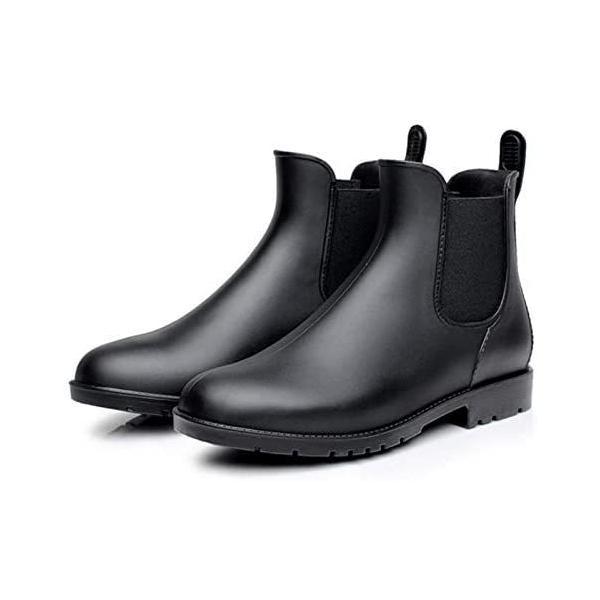 WODESEA レディースandメンズレインシューズショートブーツ無地大きいサイズサイドゴアレインブーツ梅雨雨靴無地快適防
