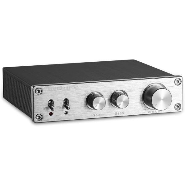 HiFi Bluetooth 5.0 デジタルアンプ ステレオ ホームオーディオ 高/低音コントロール 200W (シルバー)