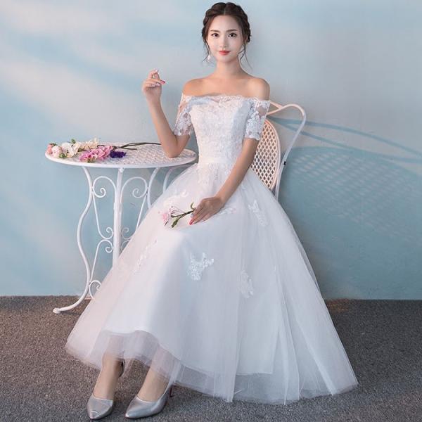 172051cd59e9e S M L XL 2XL 結婚式 ウェディングドレス ミモレ丈 二次会 2次会 ...