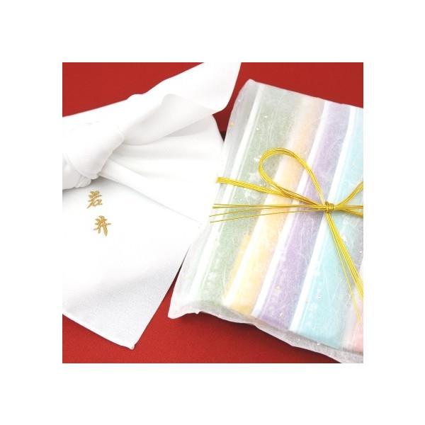 11月30日までの限定販売  千歳飴 5本入 金色名入れ刺繍(白風呂敷) 夢色結び