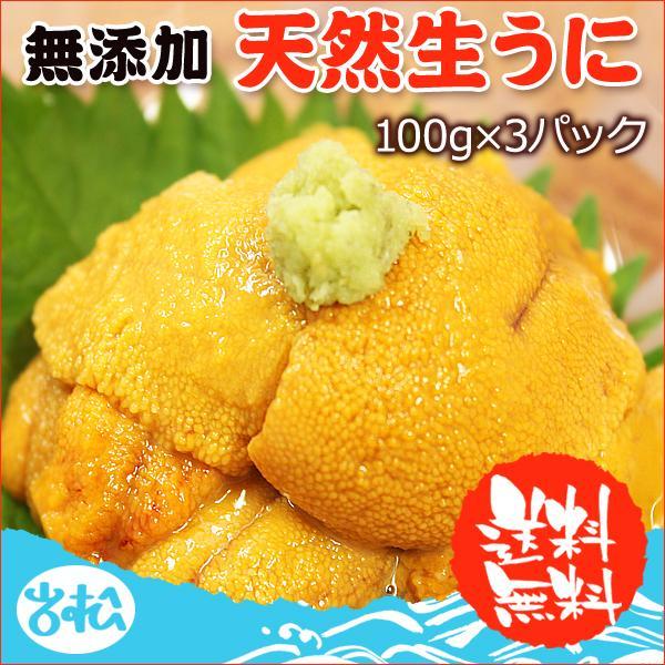 生ウニ  100g 3パック 無添加 刺身 天然 送料無料  ギフト あすつく|iwamatsu-salmon