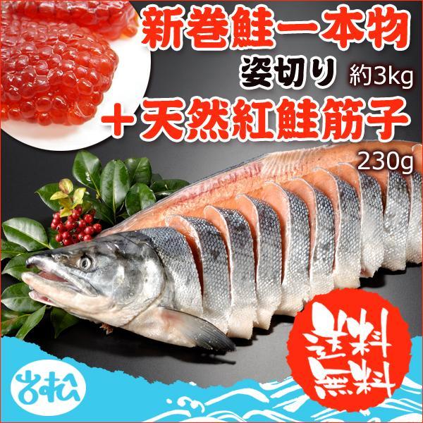 北海道産 新巻鮭一本物 姿切り 天然紅鮭筋子 230g 送料無料