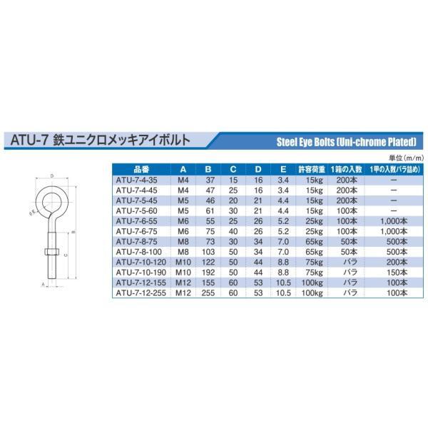 宮川公製作所 アンテナ印 鉄 ユニクロメッキ アイボルト M5×46mm ATU-7-5-45 (200本入)|iwauchi-kanamonoten|03