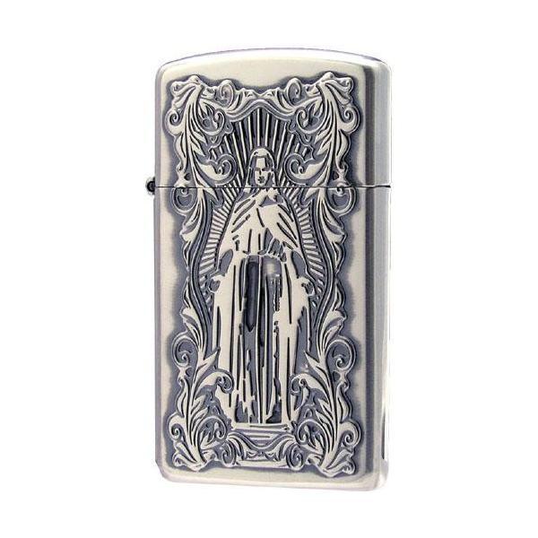 ZIPPO(ジッポー) オイルライター ディープエッチング アラベスクマリア スリム 銀いぶし 63210198