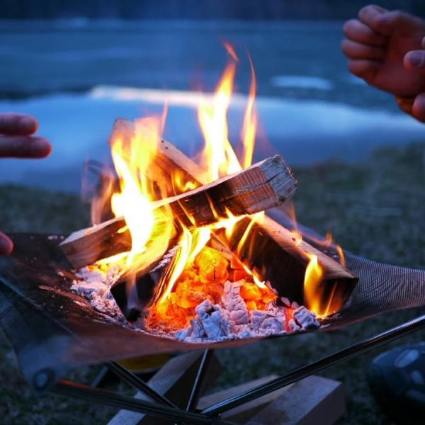 ファイアスタンド焚き火焚火台焚き火台メッシュキャンプファイヤースタンドスターターセットアウトドア焚火薪