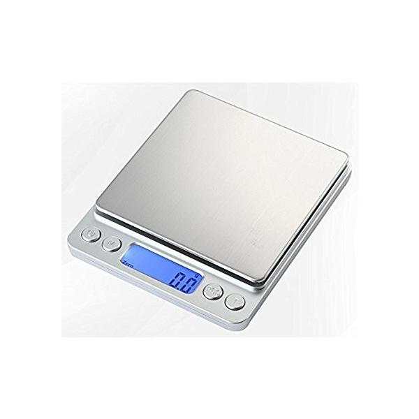 小型 精密 デジタルスケール 電子はかり 0.1g単位 3kgまで計量 日本語取扱説明書付き 計量トレー2枚付き