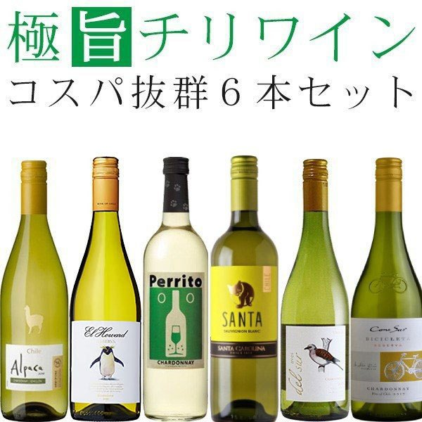 ワインセット 白 チリワイン(シャルドネ主体)飲み比べ 6本セット wine set|izmic-ec