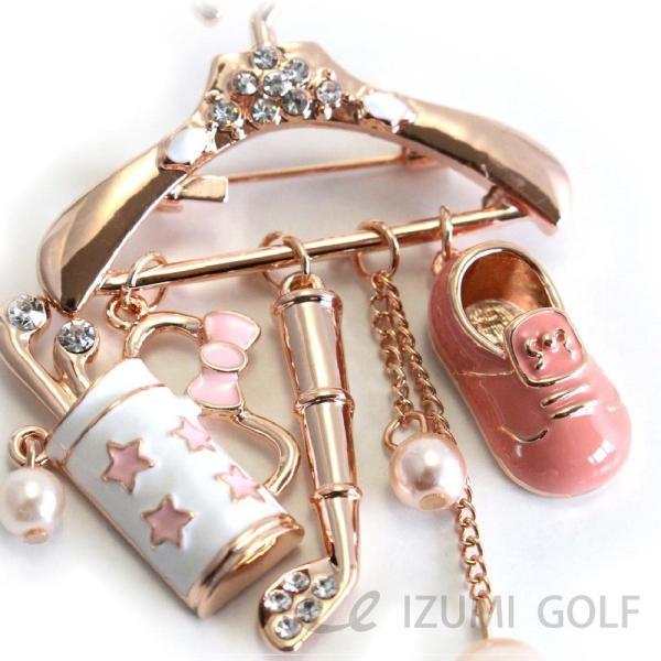 ゴルフ ブローチ ハンガー型 ローズゴールド ゴルフバッグ・ゴルフクラブ・ゴルフシューズ アクセサリー izumigolf 02