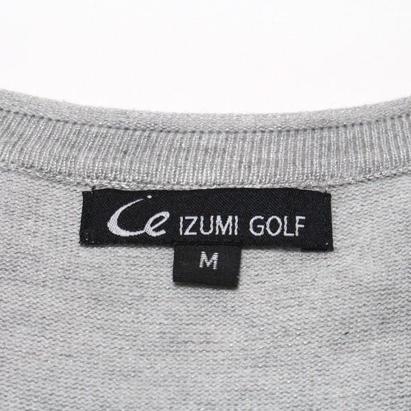 IZUMI GOLF ニットカーディガン ゴルフバッグ Vネック 長袖 Mサイズ グレー|izumigolf|05