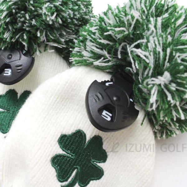 ゴルフ ニットヘッドカバー3点セット クローバー clover グリーン ボーダー ダイヤル式ナンバータグ DR・FW用 izumigolf 02