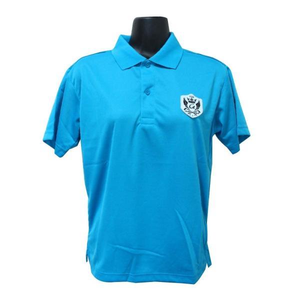 ライトドライポロシャツ 半袖 吸汗&速乾  ゴルフエンブレム ターコイズブルー サイズS|izumigolf