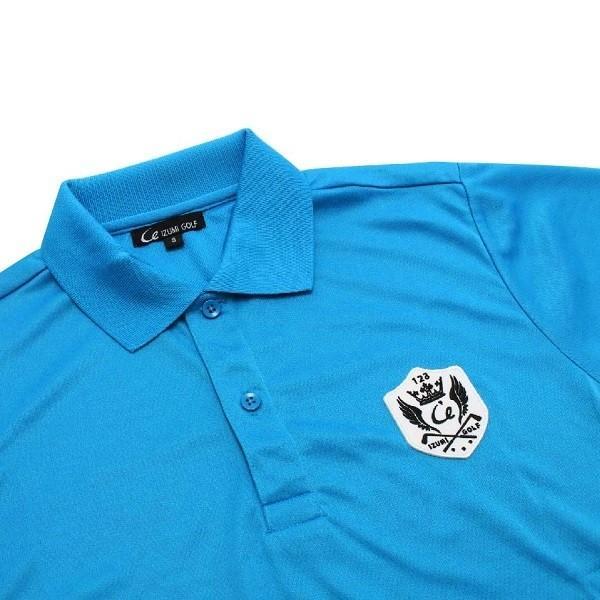 ライトドライポロシャツ 半袖 吸汗&速乾  ゴルフエンブレム ターコイズブルー サイズS|izumigolf|03