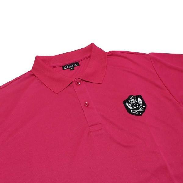 ライトドライポロシャツ 半袖 吸汗&速乾  ゴルフエンブレム ピンク サイズXL ゴルフ ラウンド|izumigolf|03