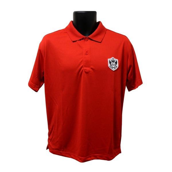 ライトドライポロシャツ 半袖 吸汗&速乾  ゴルフエンブレム レッド サイズM・L|izumigolf