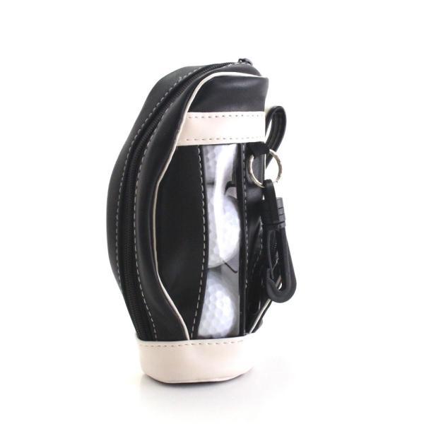 ゴルフボールケース / ポーチ ゴルフバッグ型 PUレザー 3個収納用 ブラック ティー&マーカー収納可 izumigolf