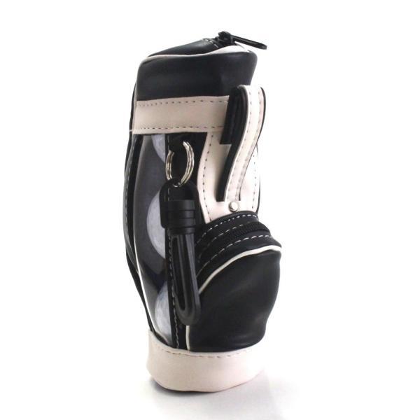 ゴルフボールケース / ポーチ ゴルフバッグ型 PUレザー 3個収納用 ブラック ティー&マーカー収納可 izumigolf 02