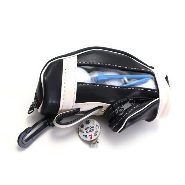 ゴルフボールケース / ポーチ ゴルフバッグ型 PUレザー 3個収納用 ブラック ティー&マーカー収納可 izumigolf 04