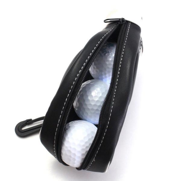 ゴルフボールケース / ポーチ ゴルフバッグ型 PUレザー 3個収納用 ブラック ティー&マーカー収納可 izumigolf 05