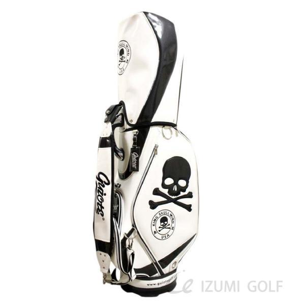 ゴルフ GUIOTE キャディバッグ 9.5型 カートタイプ スカル ホワイト PUレザー エナメル izumigolf