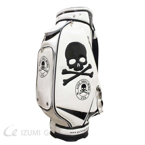 ゴルフ GUIOTE キャディバッグ 9.5型 カートタイプ スカル ホワイト PUレザー エナメル izumigolf 02