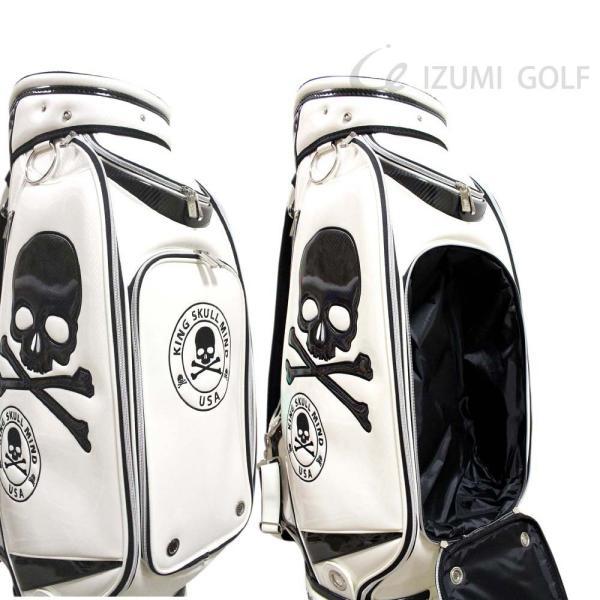 ゴルフ GUIOTE キャディバッグ 9.5型 カートタイプ スカル ホワイト PUレザー エナメル izumigolf 03