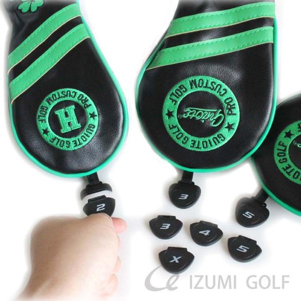 ゴルフ GUIOTE ヘッドカバー 4点セット クローバー ブラック #1・#3・#5・H ドライバー・フェアウェイウッド・ユーティリティー|izumigolf|04
