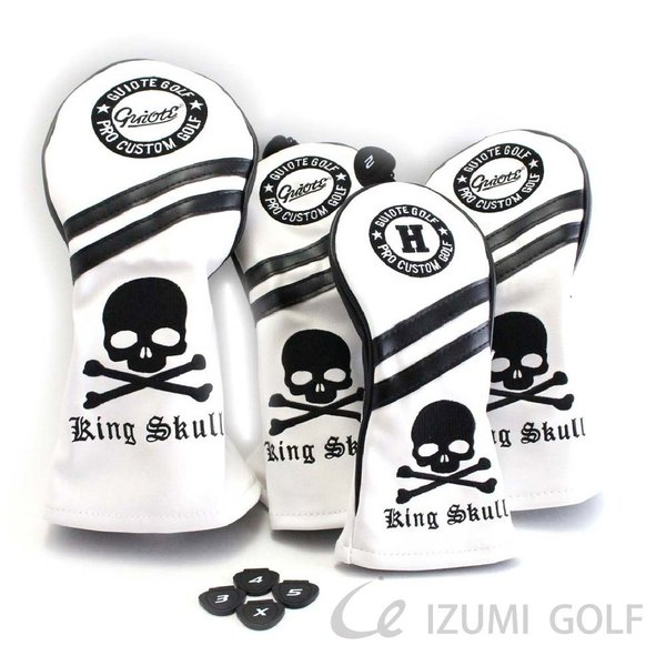 ゴルフ GUIOTE ヘッドカバー 4点セット スカル ホワイト #1・#3・#5・H ドライバー・フェアウェイウッド・ユーティリティー|izumigolf