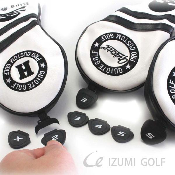 ゴルフ GUIOTE ヘッドカバー 4点セット スカル ホワイト #1・#3・#5・H ドライバー・フェアウェイウッド・ユーティリティー|izumigolf|05