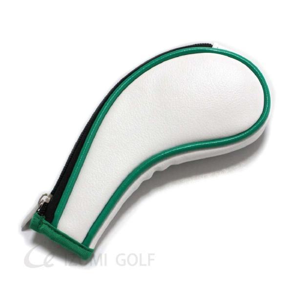 ゴルフ アイアンヘッドカバー ファスナー ジッパータイプ 10点セット クローバー ホワイト PUレザー GUIOTE|izumigolf|03