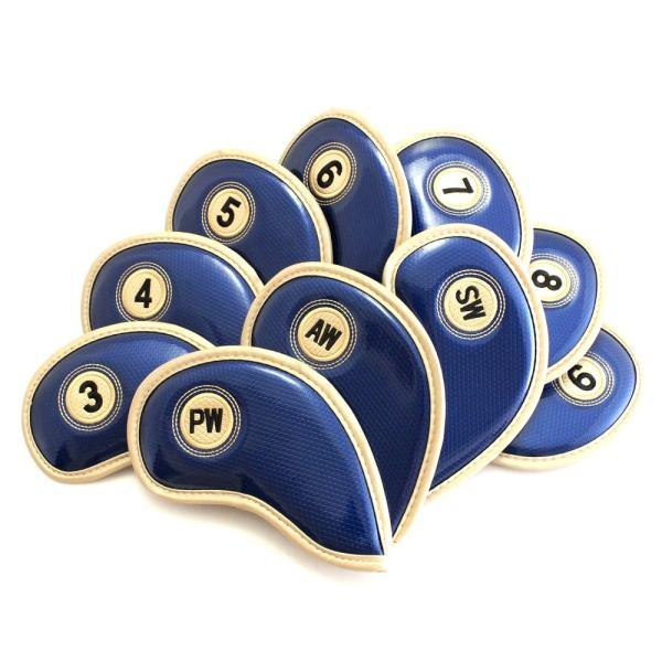 エナメル アイアン ヘッドカバー 3〜Pw 刺繍番手入り10点セット PUレザー ネイビーxゴールド|izumigolf