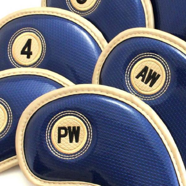 エナメル アイアン ヘッドカバー 3〜Pw 刺繍番手入り10点セット PUレザー ネイビーxゴールド|izumigolf|02