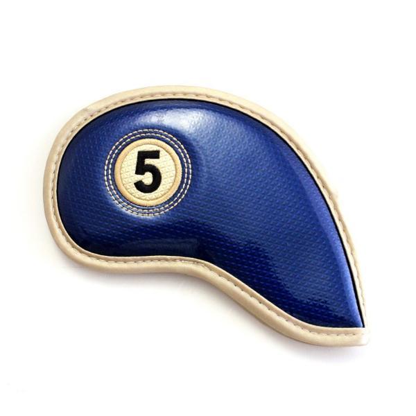 エナメル アイアン ヘッドカバー 3〜Pw 刺繍番手入り10点セット PUレザー ネイビーxゴールド|izumigolf|03
