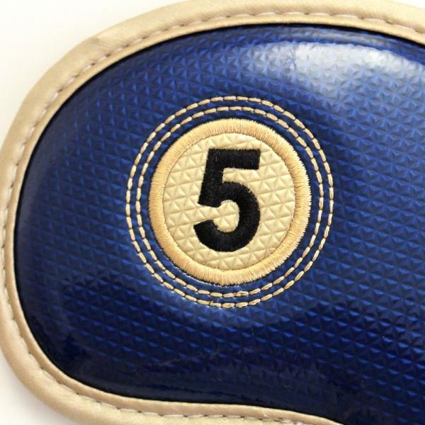 エナメル アイアン ヘッドカバー 3〜Pw 刺繍番手入り10点セット PUレザー ネイビーxゴールド|izumigolf|04