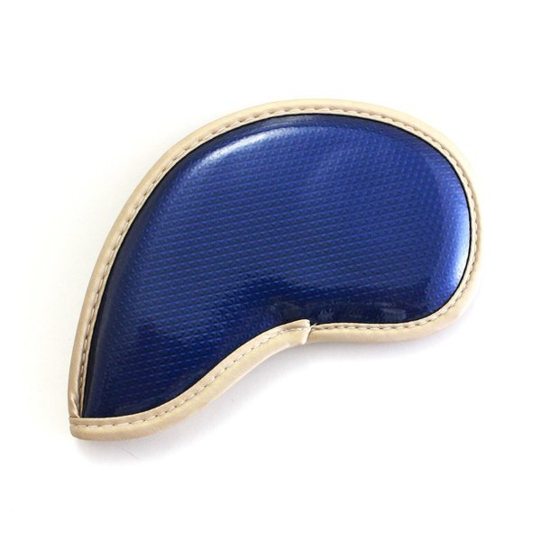エナメル アイアン ヘッドカバー 3〜Pw 刺繍番手入り10点セット PUレザー ネイビーxゴールド|izumigolf|05