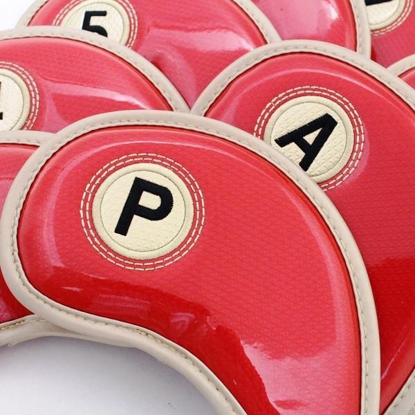 ゴルフ エナメル アイアン ヘッドカバー 3〜P 刺繍番手入り 10点セット PUレザー レッドxゴールド|izumigolf|02