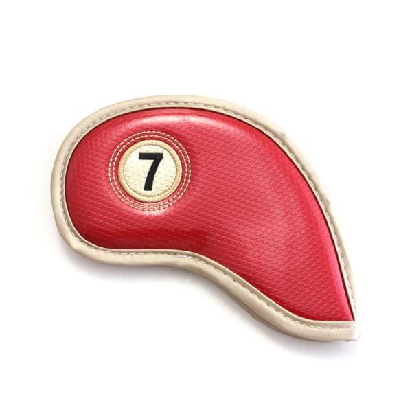 ゴルフ エナメル アイアン ヘッドカバー 3〜P 刺繍番手入り 10点セット PUレザー レッドxゴールド|izumigolf|03