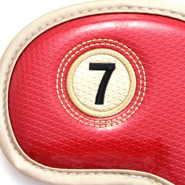 ゴルフ エナメル アイアン ヘッドカバー 3〜P 刺繍番手入り 10点セット PUレザー レッドxゴールド|izumigolf|04