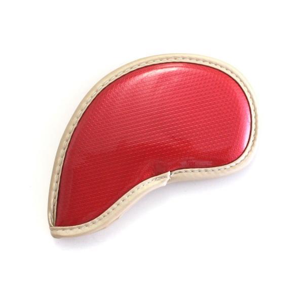 ゴルフ エナメル アイアン ヘッドカバー 3〜P 刺繍番手入り 10点セット PUレザー レッドxゴールド|izumigolf|05