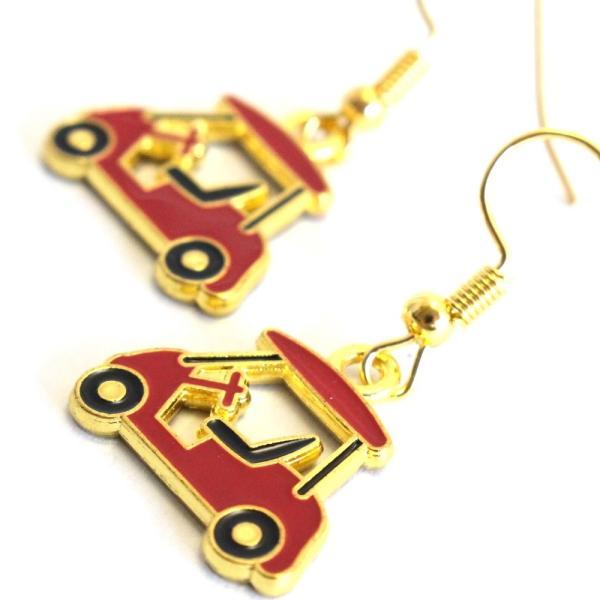 ゴルフカート ピアス 赤いカート ゴールドカラー フックタイプ ゴルフモチーフアクセサリー izumigolf 02