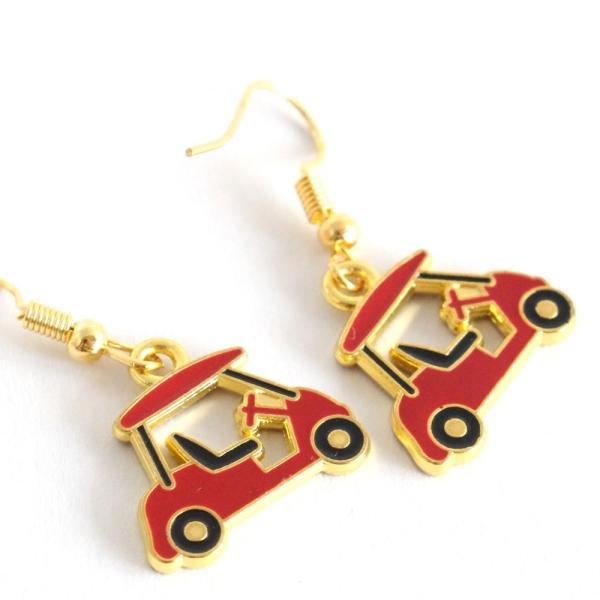 ゴルフカート ピアス 赤いカート ゴールドカラー フックタイプ ゴルフモチーフアクセサリー izumigolf 03