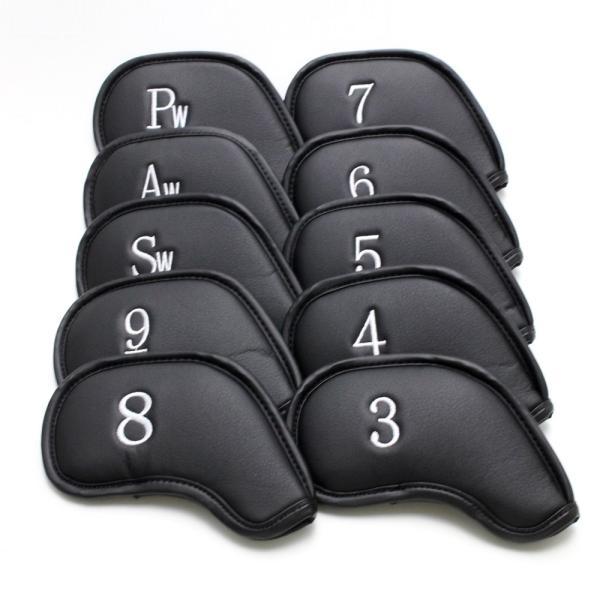 ゴルフ アイアン ヘッドカバー クローバー 刺繍ブラック 番手入り 10点セット PUレザー|izumigolf|03