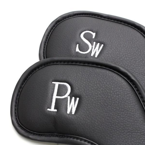 ゴルフ アイアン ヘッドカバー クローバー 刺繍ブラック 番手入り 10点セット PUレザー|izumigolf|05