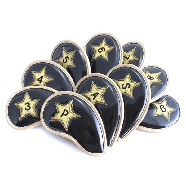 ゴルフ エナメル アイアン ヘッドカバー 3〜P スター ブラック 刺繍番手入り 10点セット PUレザー|izumigolf