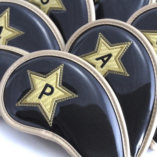 ゴルフ エナメル アイアン ヘッドカバー 3〜P スター ブラック 刺繍番手入り 10点セット PUレザー|izumigolf|02