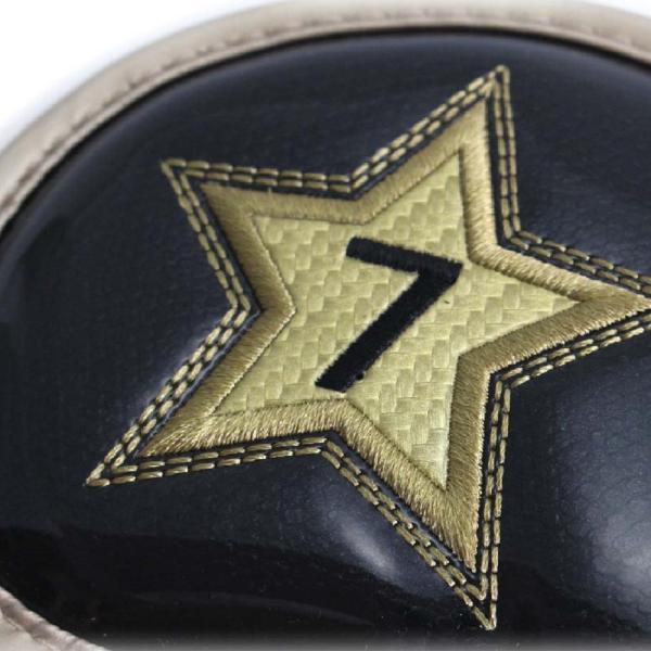 ゴルフ エナメル アイアン ヘッドカバー 3〜P スター ブラック 刺繍番手入り 10点セット PUレザー|izumigolf|03