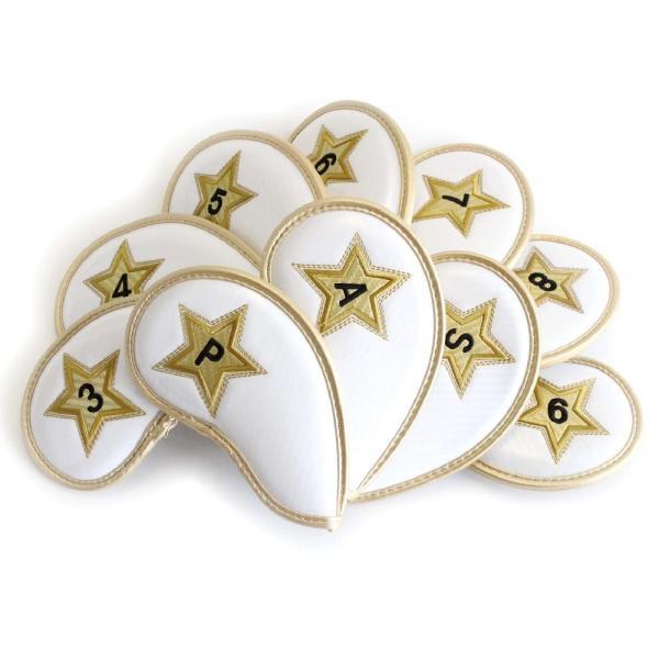 エナメル アイアン ヘッドカバー 3〜P スター ホワイト 刺繍番手入り10点セット PUレザー|izumigolf