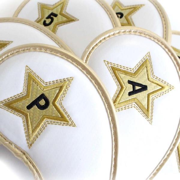 エナメル アイアン ヘッドカバー 3〜P スター ホワイト 刺繍番手入り10点セット PUレザー|izumigolf|02