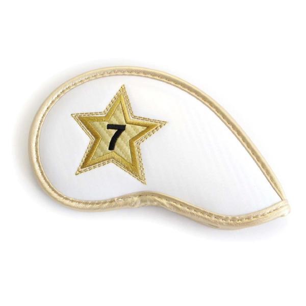 エナメル アイアン ヘッドカバー 3〜P スター ホワイト 刺繍番手入り10点セット PUレザー|izumigolf|03